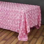 "90""x156"" Rectangle (Grandiose Rosette) Tablecloth - Pink"