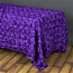 "90""x156"" Rectangle (Grandiose Rosette) Tablecloth - Purple"