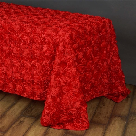 "90""x156"" Rectangle (Grandiose Rosette) Tablecloth - Red"