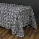 "90""x156"" Rectangle (Grandiose Rosette) Tablecloth - Silver"