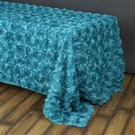 "90""x156"" Rectangle (Grandiose Rosette) Tablecloth - Turquoise"