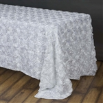 "90""x156"" Rectangle (Grandiose Rosette) Tablecloth - White"