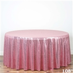 "108"" Round Grand Duchess Sequin Tablecloth - Pink"