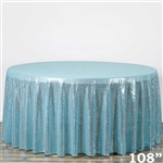 "108"" Round Grand Duchess Sequin Tablecloth - Serenity Blue"