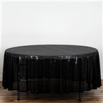 "108"" Round Grand Duchess Sequin Tablecloth - Black"