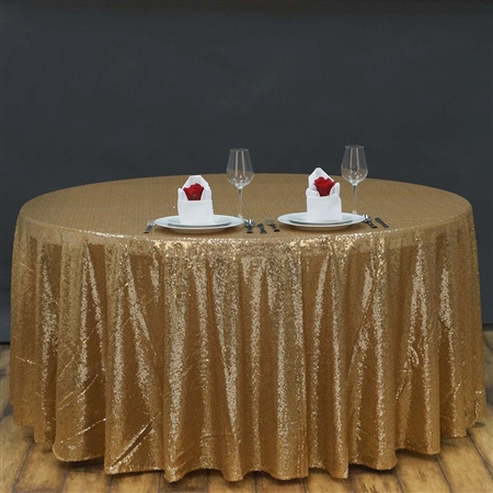 "108"" Round Grand Duchess Sequin Tablecloth - Gold"
