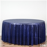 "108"" Round Grand Duchess Sequin Tablecloth - Navy Blue"