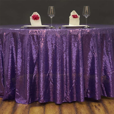 "108"" Round Grand Duchess Sequin Tablecloth - Purple"
