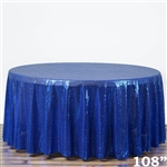 "108"" Round Grand Duchess Sequin Tablecloth - Royal Blue"