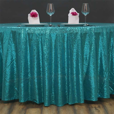 "108"" Round Grand Duchess Sequin Tablecloth - Turquoise"