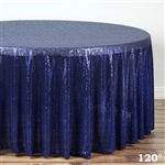 "120"" Round Grand Duchess Sequin Tablecloth - Navy"