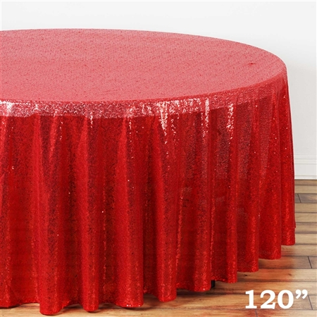 "120"" Round Grand Duchess Sequin Tablecloth - Red"
