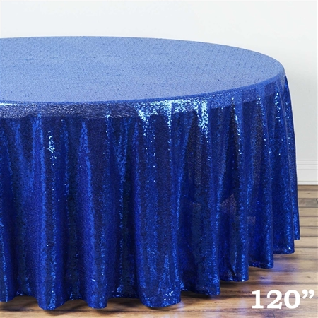 "120"" Round Grand Duchess Sequin Tablecloth - Royal"