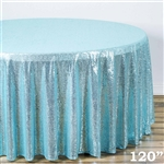"120"" Round Grand Duchess Sequin Tablecloth - Serenity Blue"