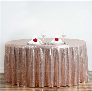 "120"" Round Grand Duchess Sequin Tablecloth - Blush"