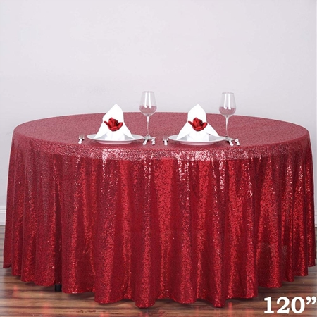 "120"" Wholesale Premium Burgundy Sequin Round Tablecloth"
