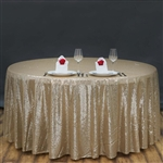 "120"" Round Grand Duchess Sequin Tablecloth - Champagne"