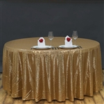 "120"" Round Grand Duchess Sequin Tablecloth - Gold"