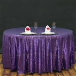 "120"" Round Grand Duchess Sequin Tablecloth - Purple"