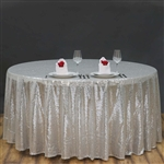 "120"" Round Grand Duchess Sequin Tablecloth - Silver"