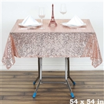 "54"" Blush Wholesale Premium Sequin Square Tablecloth For Banquet Party"