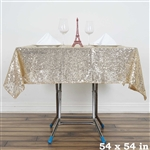"54"" Champagne Wholesale Premium Sequin Square Tablecloth For Banquet Party"