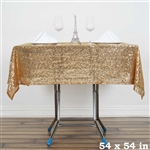 "54"" Gold Wholesale Premium Sequin Square Tablecloth For Banquet Party"