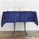 "54"" Navy Blue Wholesale Premium Sequin Square Tablecloth For Banquet Party"