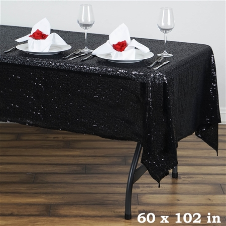"60x102"" Duchess Sequin Rectangle Tablecloth - Black"