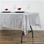 "60x102"" Rectangle (Duchess Sequin) Tablecloth - Silver"