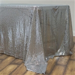 "60x126"" Rectangle (Duchess Sequin) Tablecloth - Silver"
