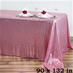 "90x132"" Rectangle (Duchess Sequin) Tablecloth - Pink"