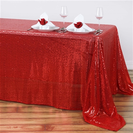 "90x132"" Rectangle (Duchess Sequin) Tablecloth - Red"