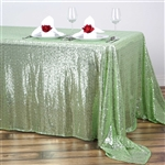 "90x132"" Rectangle (Duchess Sequin) Tablecloth - Tea Green"