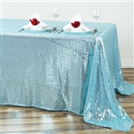 "90x132"" Rectangle (Duchess Sequin) Tablecloth - Serenity Blue"