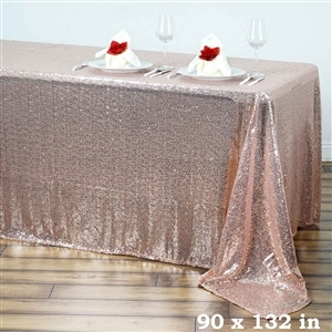 "90x132"" Rectangle (Duchess Sequin) Tablecloth - Blush"