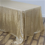 "90x132"" Rectangle (Duchess Sequin) Tablecloth - Champagne"
