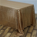 "90x132"" Rectangle (Duchess Sequin) Tablecloth - Gold"