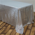 "90x132"" Rectangle (Duchess Sequin) Tablecloth - Silver"