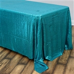 "90x132"" Rectangle (Duchess Sequin) Tablecloth - Turquoise"
