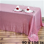 "90x156"" Duchess Sequin Rectangle Tablecloth - Pink"