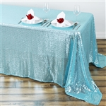 "90x156"" Duchess Sequin Rectangle Tablecloth - Serenity Blue"