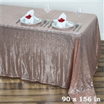 "90x156"" Duchess Sequin Rectangle Tablecloth - Blush"