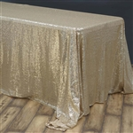 "90x156"" Rectangle (Duchess Sequin) Tablecloth - Champagne"
