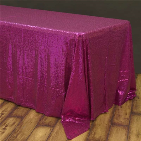 "90x156"" Rectangle (Duchess Sequin) Tablecloth - Fushia"