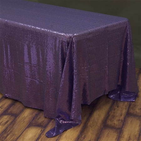 "90x156"" Rectangle (Duchess Sequin) Tablecloth - Purple"