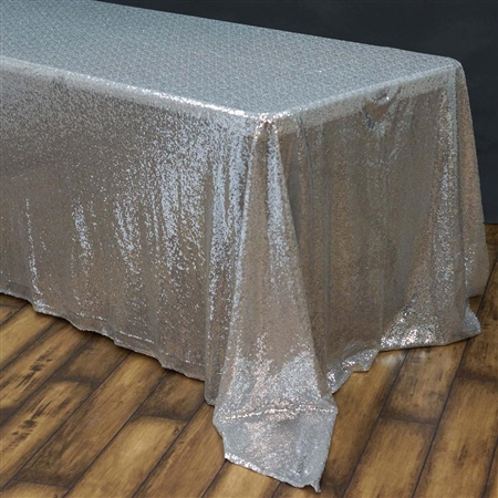 "90x156"" Rectangle (Duchess Sequin) Tablecloth - Silver"