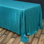 "90x156"" Duchess Sequin Rectangle Tablecloth - Turquoise"