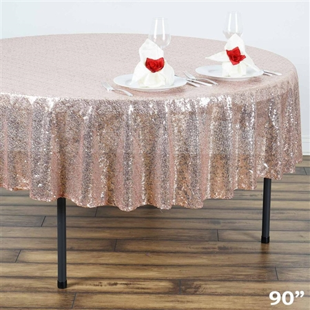 "90"" Wholesale Premium Sequin Round Tablecloth in Blush for Wedding Banquet Party"