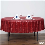 "90"" Wholesale Premium Sequin Round Tablecloth in Burgundy for Wedding Banquet Party"